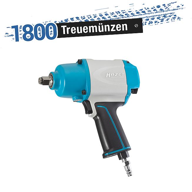 HAZET Schlagschrauber  9012-1SPC ∙ Lösemoment maximal: 1000 Nm ∙ Vierkant massiv 12,5 mm (1/2 Zoll) ∙ Hochleistungs-Doppelhammer-Schlagwerk