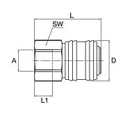 Einhand-Schnellkupplung mit Innengewinde