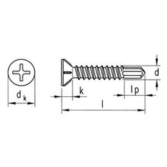 SebS Bohrschraube Senkfräskopf Fensterbau ähnl. DIN 7504-P-H gevz, H 2